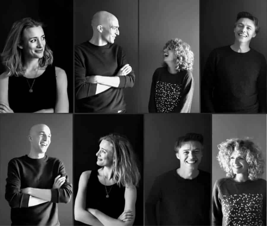 De Stemacteur voice-overs banner foto met stemacteurs Sieger Sloot, Carolien Borgers, Noortje Herlaar en Michiel Sloot.